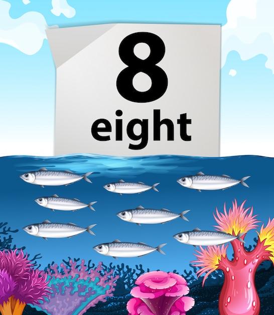 水中で泳ぐナンバー8と8の魚 無料ベクター