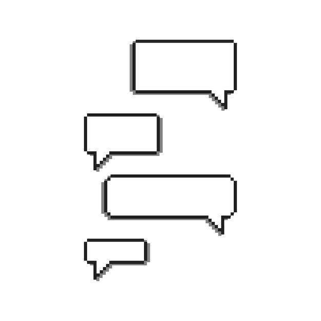 8 Bit Pixel Speech Bubbles Set Vector