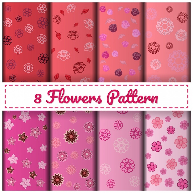 8 flowers pattern set color pink. Premium Vector