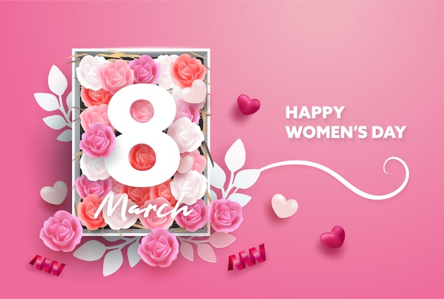 8 march background. international happy women's day. realistic hearts and rose flower and paper style. Premium Vector