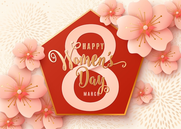 8 march celebration background design with light pink flowers. happy womens day golden lettering with cherry blossoms paper art. Free Vector