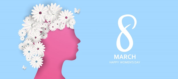 3月8日。母の日おめでとう。紙カット蝶と花の休日の背景 Premiumベクター