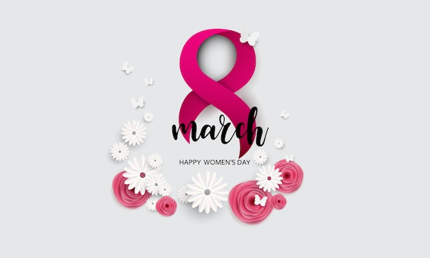 8 march. happy mother's day. paper cut butterfly with flower holiday background Premium Vector