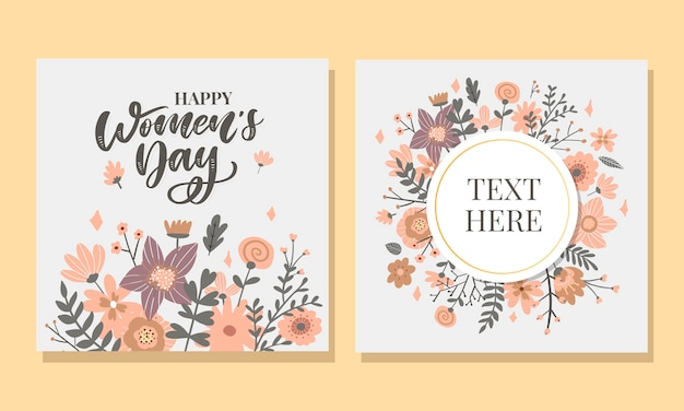 8 march. happy woman's day vector congratulation card with linear floral wreath Premium Vector