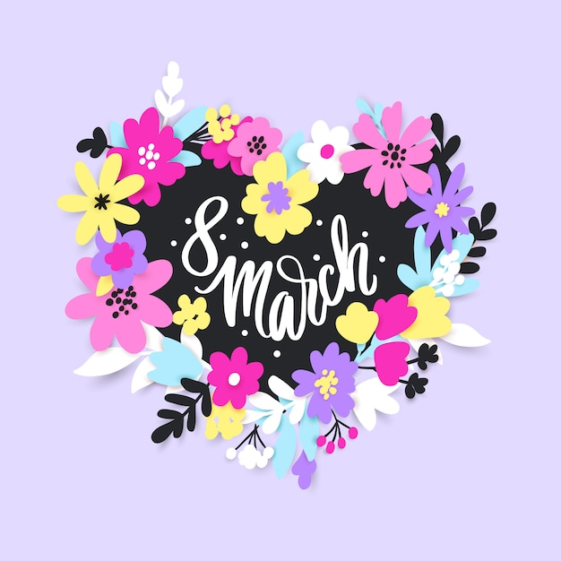 8 march. happy women's day greeting card with flowers and leaves in paper cut style. Premium Vector