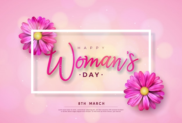 8 march. happy womens day floral greeting card. international holiday illustration with flower design on pink background. Free Vector