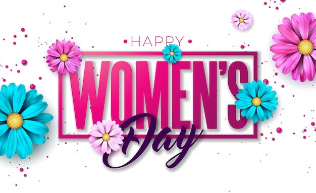 8 march. happy womens day floral greeting card. Free Vector