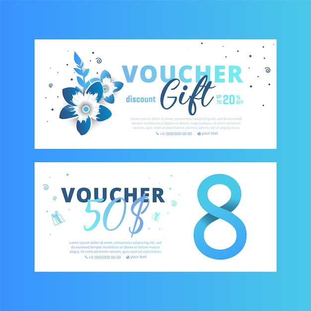 8 march voucher. bright set of gift voucher Premium Vector