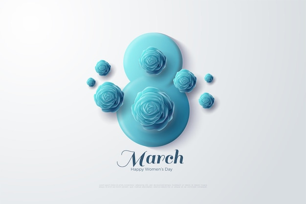 8 march with blue 3d numbers and blue roses. Premium Vector