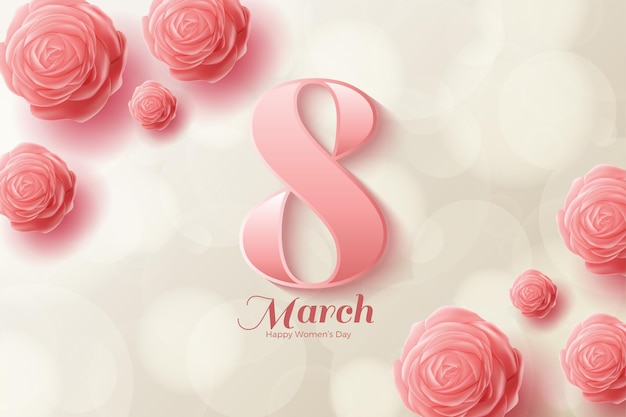 8 march with pink numbers and pink roses. Premium Vector