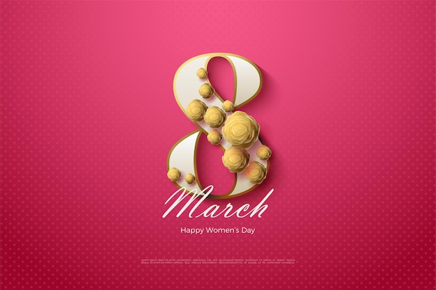 8 march with white numbers and gold roses. Premium Vector