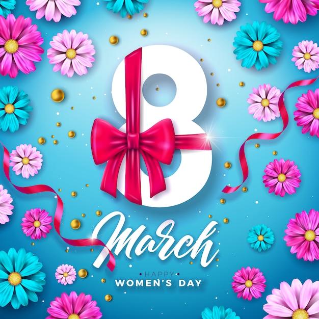 8 марта дизайн празднования женского дня с букетом цветов и книгопечатания Бесплатные векторы