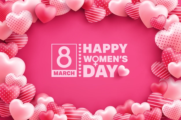 8 march women's day greeting card with many sweet hearts on pink Premium Vector
