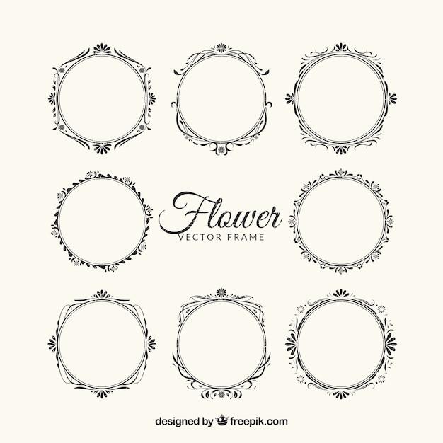 8 ornate floral frames Vector | Free Download