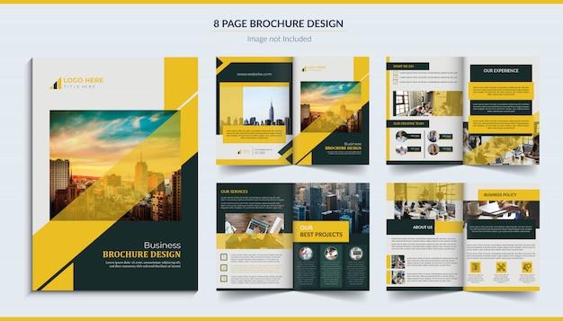 8 page brochure design Premium Vector