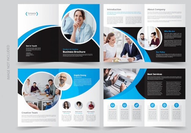 8 page business brochure template Premium Vector