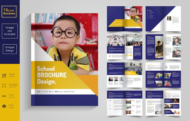 8 pages back to school brochure design for kids Premium Vector
