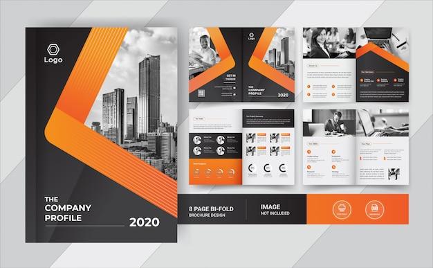 Дизайн бизнес брошюры на 8 страниц Premium векторы