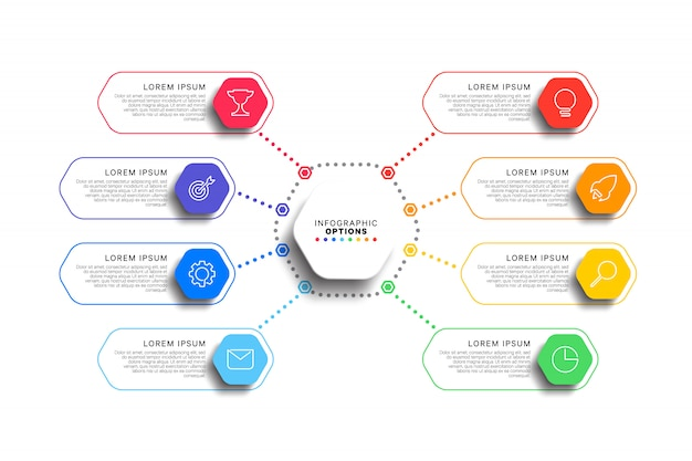 8 steps infographic template with realistic hexagonal elements on white background Premium Vector