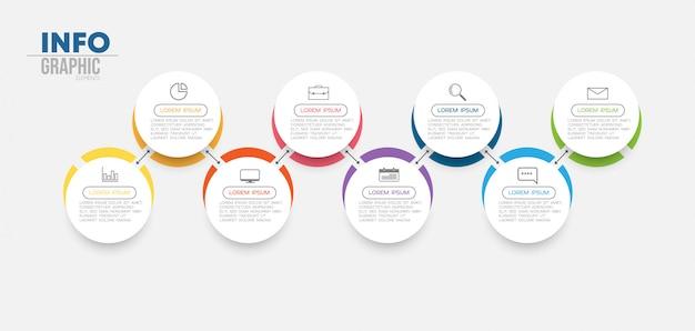 8つのオプションまたは手順を持つインフォグラフィック要素。プロセス、プレゼンテーション、図、ワークフローレイアウト、情報グラフ、webデザインに使用できます。 Premiumベクター