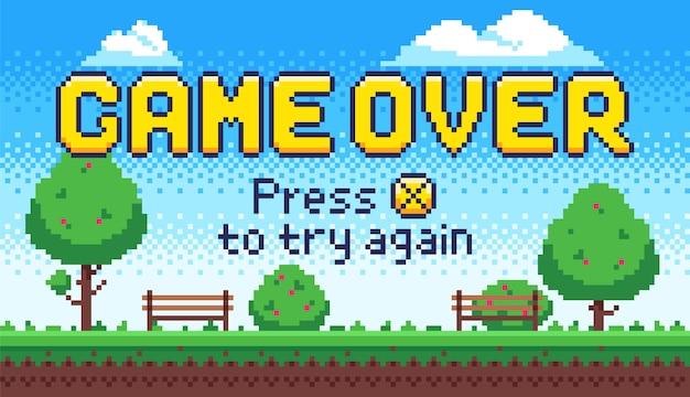 画面上のゲーム。レトロな8ビットアーケードゲーム、古いピクセルビデオゲームの終了、およびピクセルを押してxキーを押すと、図にもう一度署名します。 Premiumベクター