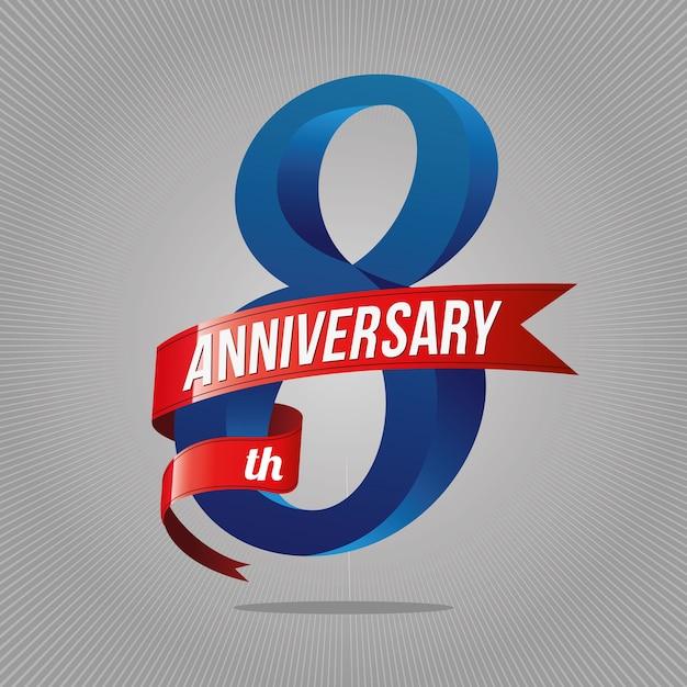 Premium Vector 8 Years Anniversary Celebration Logotype