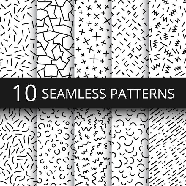 Фанки мемфис бесшовные векторные узоры. 80-е и 90-е годы школа школьной моды черно-белые текстуры с простыми геометрическими фигурами Premium векторы