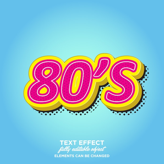 80's 3d style text effects Premium Vector