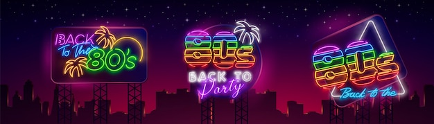 80's collection neon signs Premium Vector