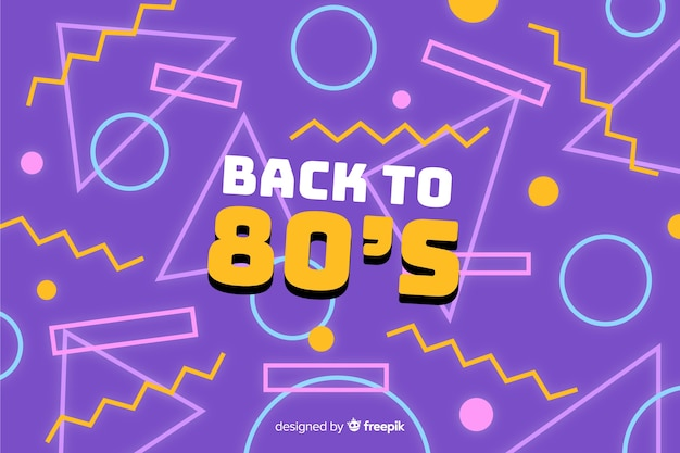 80's colorful background geometric style Free Vector