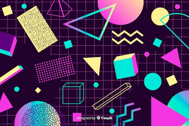80's geometric background with different shapes Vector