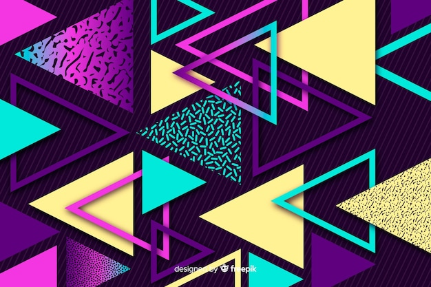 80's geometric background with triangles Free Vector