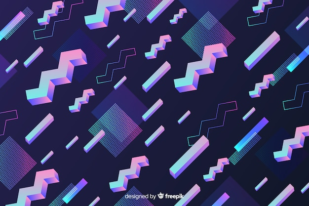 80's geometric colorful decorative background Free Vector