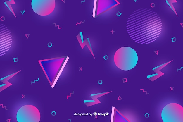 80's geometric colorful decorative background Vector | Free