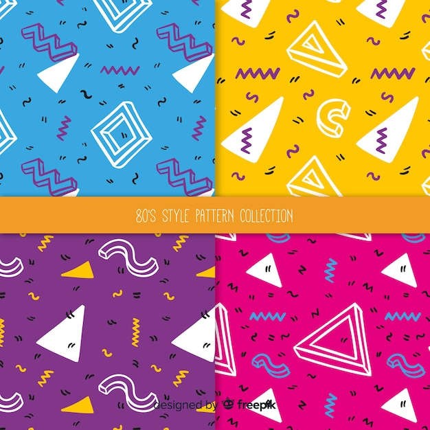 80's style pattern collection Free Vector