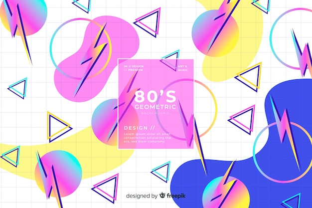 80 style background with geometric shapes Free Vector