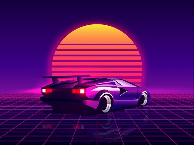 Ретро футуристический задний вид суперкар 80-х годов на модный фон заход солнца synthwave / steamwave / cyberpunk. вернуться к концепции 80-х годов. Premium векторы