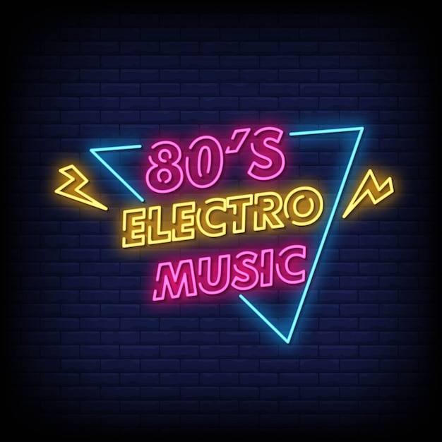 80-е электро музыка неоновая вывеска на кирпичной стене Premium векторы