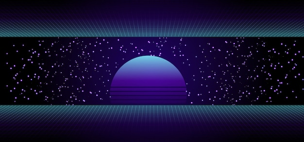 日の出または日没の80年代レトロなサイエンスフィクションバナー Premiumベクター