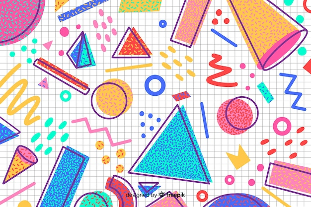80年代のレトロなスタイルの幾何学的な背景デザイン 無料ベクター