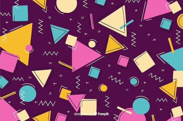80-х годов геометрический дизайн фона в стиле ретро Бесплатные векторы