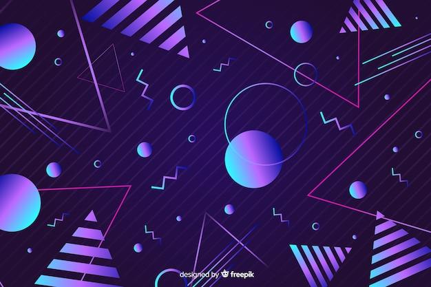 Геометрический фон в стиле 80-х Бесплатные векторы
