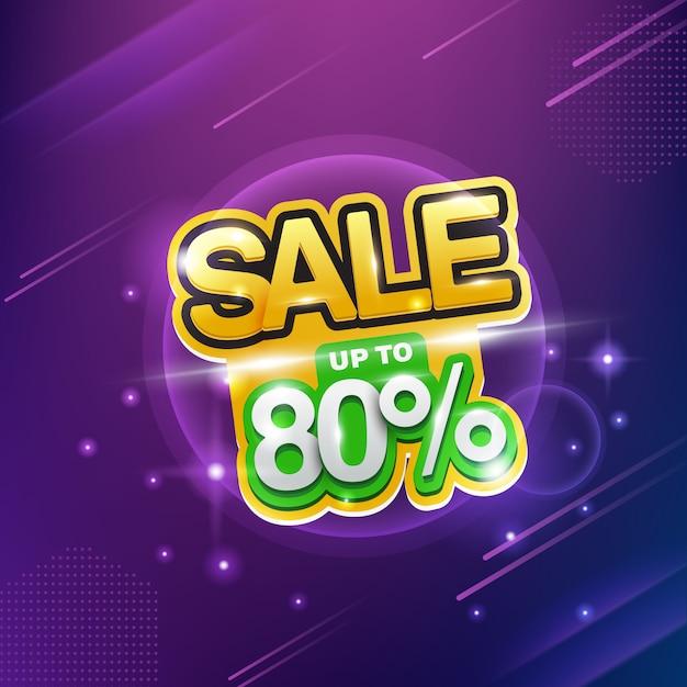 ネオンセール、最大80%セール、大きな割引。 Premiumベクター