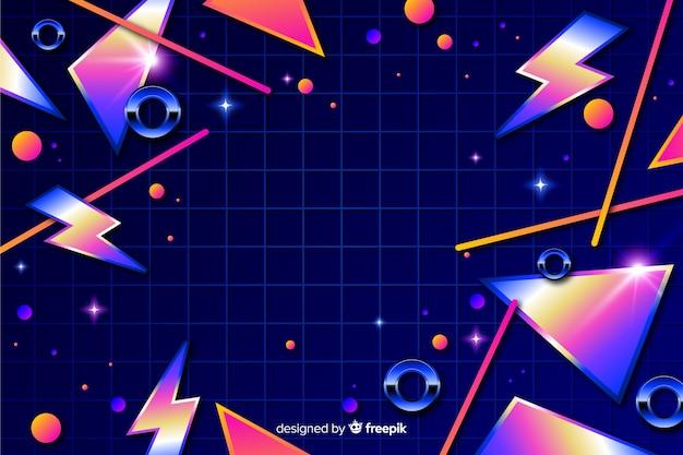 Геометрический красочный декоративный фон 80-х Бесплатные векторы