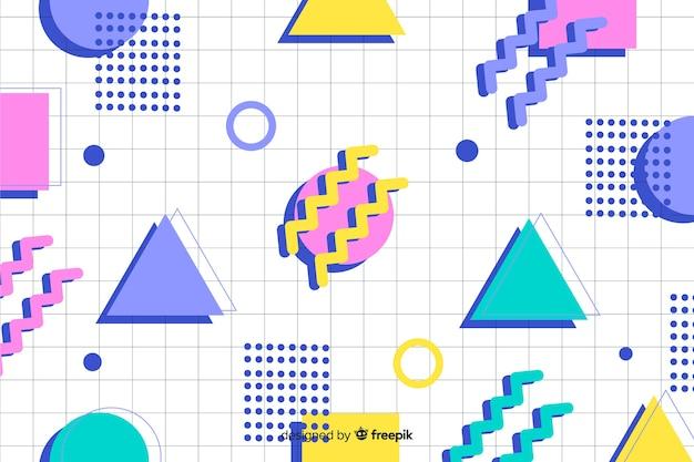80年代の幾何学的なカラフルな装飾的な背景 無料ベクター
