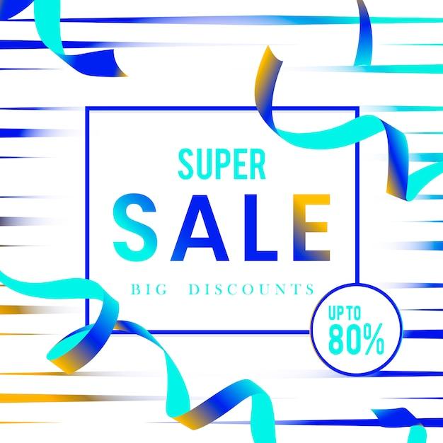 スーパーセール80%オフのサインベクトル 無料ベクター