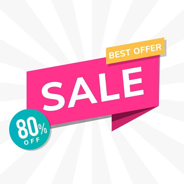ベストオファー販売80%プロモーション広告ベクトル 無料ベクター