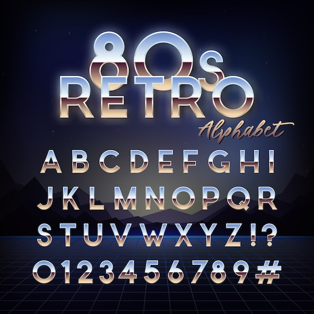 Блестящий 80-х годов ретро алфавит Premium векторы
