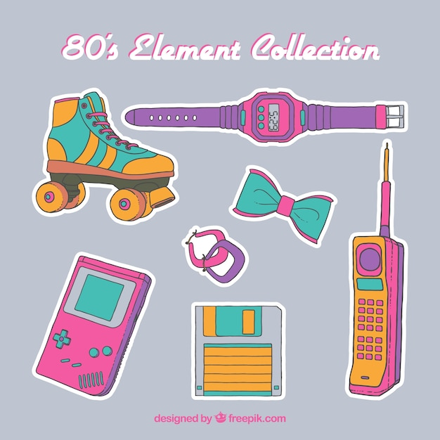 80年代の要素コレクション 無料ベクター