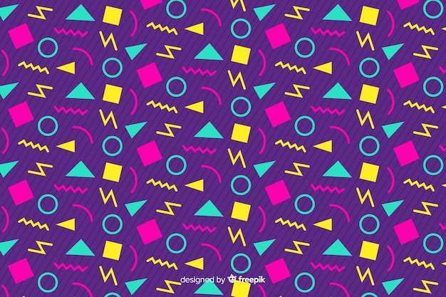 80s geometric background design with retro style Vector